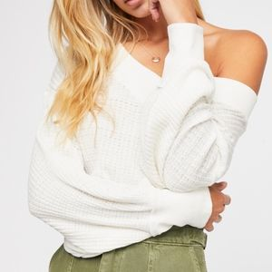 Free People South Side Thermal Top Size S Ivory